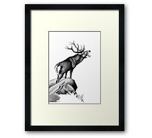 Red Stag Roaring in the Rut Framed Print