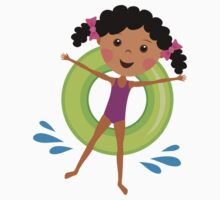 Cute African American girl on inflatable ring sticker by MheaDesign