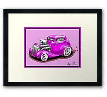 HOT ROD CHEV STYLE CAR PINK Framed Print