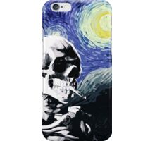 Skull with burning cigarette on a Starry Night iPhone Case/Skin
