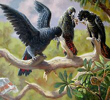 Black Red-tail parrots by Val Varetsa