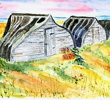 Boatsheds at Lindisfarne by GEORGE SANDERSON