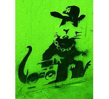 Bansky Gangsta Rat - Green Photographic Print