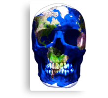 """LuxeMyth"" Human-Caused Climate Change Earth Skull  Canvas Print"