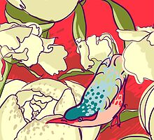 Seamless floral background with peonies bird by OlgaBerlet