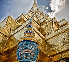 Temple & Monkey - Grand Palace, Bangkok Thailand by Kelly McGill