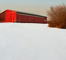 Red Barn and Snow by BRIAN LEWIS