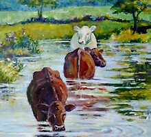 Cows in Linden Pond by JKHowsarePearl