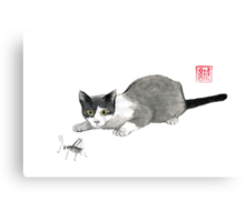 Silly cricket sumi-e painting. Canvas Print