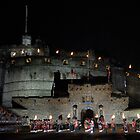 Edinburgh Castle with the massed pipes and drums by tayforth