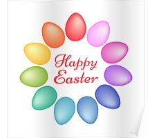 Happy Easter with colorful egg flower Poster