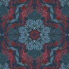 Vintage Fancy - a Pattern in Deep Teal & Red by micklyn