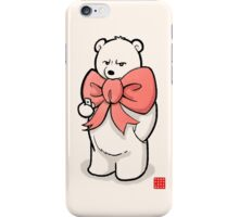 Polar Bear In Pink Ribbon iPhone Case/Skin