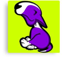 Innocent English Bull Terrier Puppy Purple  Canvas Print
