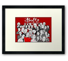 buffy the vampire slayer character collage Framed Print