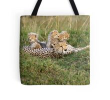 One happy cheetah family Tote Bag