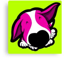 Big Nose Bull Terrier Shocking Pink Canvas Print