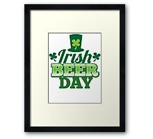 Irish Beer day St Patricks day design with top hat and shamrocks Framed Print