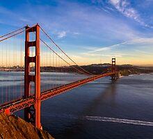 SF Golden Gate Bridge at Sunset by heyengel