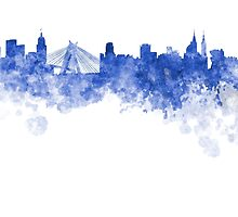 Sao Paulo skyline in blue watercolor on white background by paulrommer