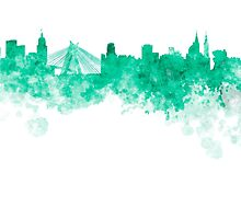 Sao Paulo skyline in green watercolor on white background by paulrommer