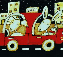 Cashew and Sparky drive in the city by Kathy Langlade