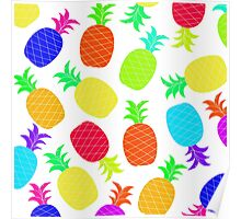 """Funky Fun"" - Ananas Fruit Tropical Hot Pink Neon Fuchsia Fluorescent Orange Green Teal Purple Ultraviolet Yellow Lime Cool Super Fantastic Silly Cute Funny Orange Blue Green Poster"
