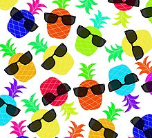 """""""Seriously Cool Ananas"""" - Ananas Fruit Tropical Hot Pink Neon Fuchsia Fluorescent Orange Green Teal Purple Ultraviolet Yellow Sunglasses Lime Cool Super Fantastic Silly Cute Funny Humor   by CanisPicta"""