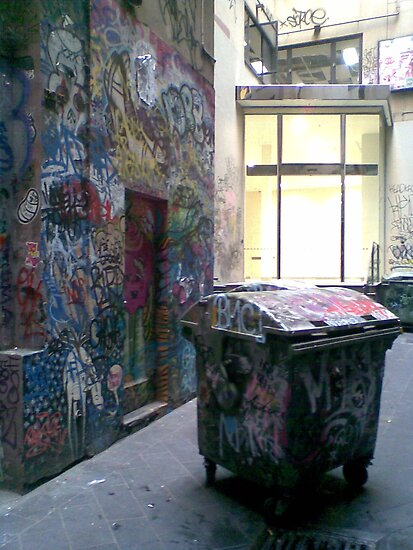 Graffito the Dumpster Poses Outside Company Headquarters by Tatterhood