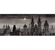 BW Prague City of hundres spiers Photographic Print