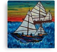 Fishing Junks at sunset Canvas Print