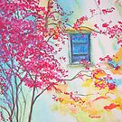 Bouganvilla and Blue Shutter  by lizzyforrester