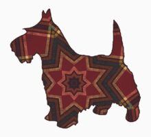 Scottish Terrier Dog, Plaid Mandala by Myillusions