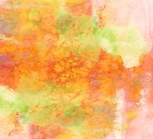 PASTEL IMAGININGS 3 Girly Chic Rainbow Abstract Watercolor Painting Colorful Textural Spring Peach Pink Yellow Green Fine Art by EbiEmporium