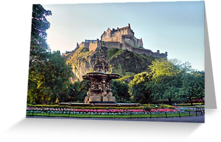 Edinburgh Castle with Ross Fountain by Andrew Ness - www.nessphotography.com