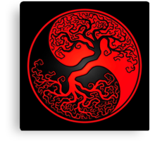 Red and Black Tree of Life Yin Yang Canvas Print