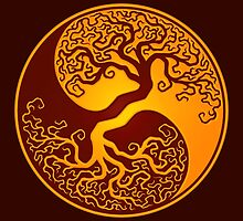 Red and Yellow Tree of Life Yin Yang by Jeff Bartels
