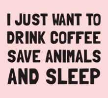 Coffee Animals Sleep Kids Clothes