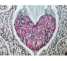 rose quartz stone tangled heart Photographic Print