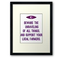 Unraveling of all things Framed Print