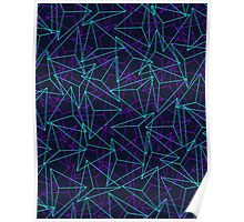 Abstract Geometric 3D Triangle Pattern in  turquoise/ purple  Poster
