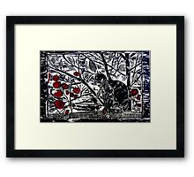 Poppy on the Deck-Woodcut Framed Print