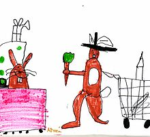 The Rabbit Family At The Supermarket by Minerva -Athina