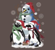 Christmas Penquin and Snowman T-Shirt
