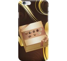 Brown Background with Chocolate Box 2 iPhone Case/Skin