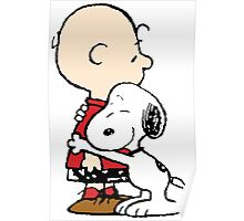 Charlie hugs Snoopy Poster