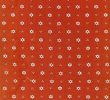 Vintage red fabric with small white flowers by Colorello