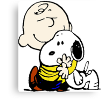 Charlie Brown hugs Snoopy Canvas Print