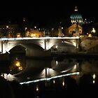 Ponte Vittorio Emanuele II by night. by hans p olsen
