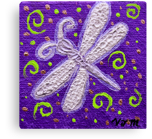 Silver Dragonfly on Purple Canvas Print